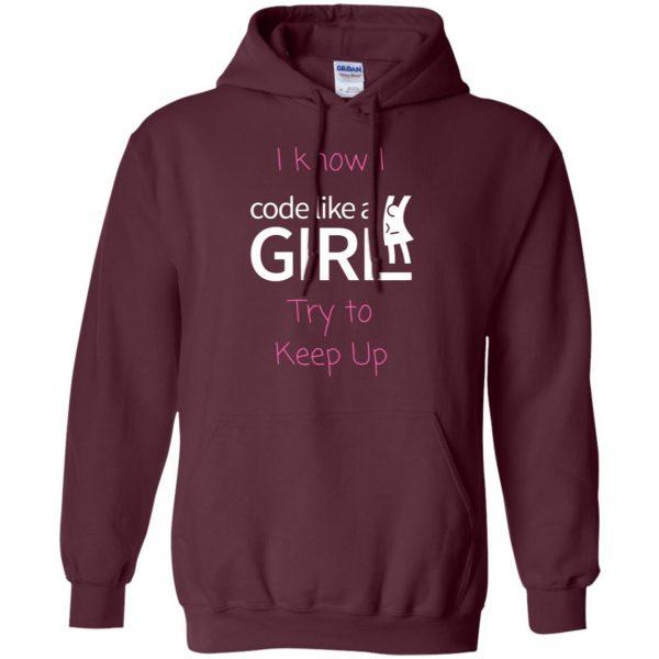 code like a girl hoodie - maroon