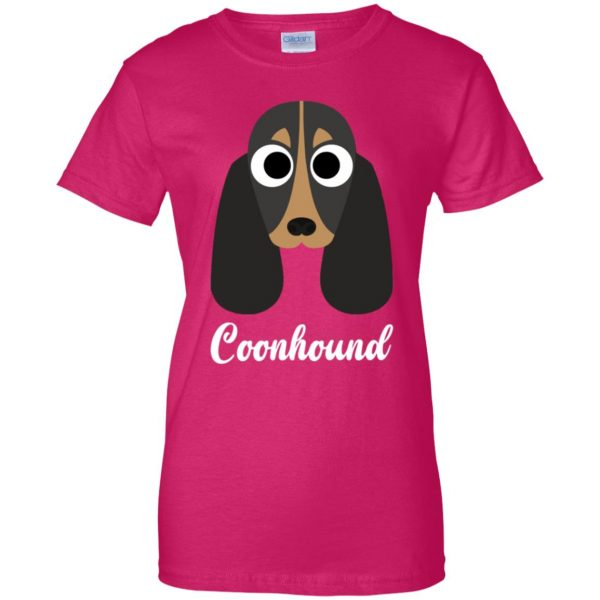 coonhound womens t shirt - lady t shirt - pink heliconia