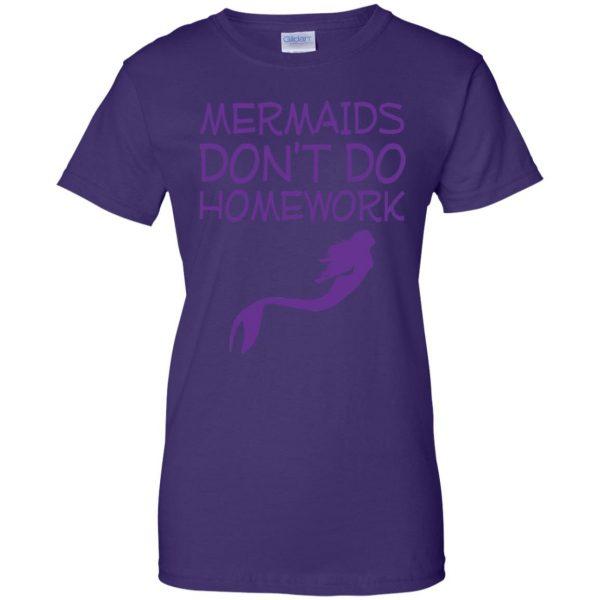 mermaids dont do homework womens t shirt - lady t shirt - purple
