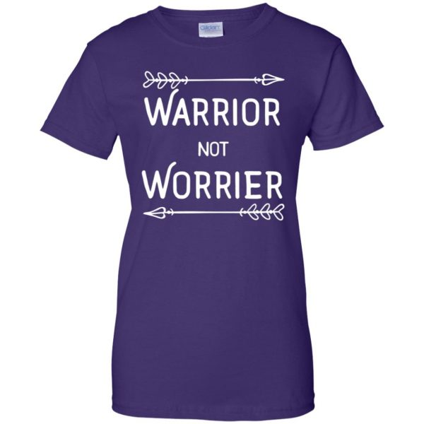 warrior not worrier womens t shirt - lady t shirt - purple