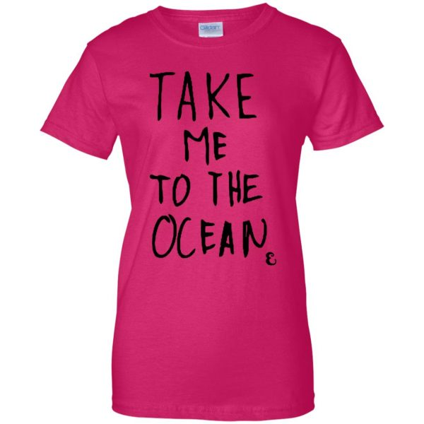 take me to the ocean womens t shirt - lady t shirt - pink heliconia