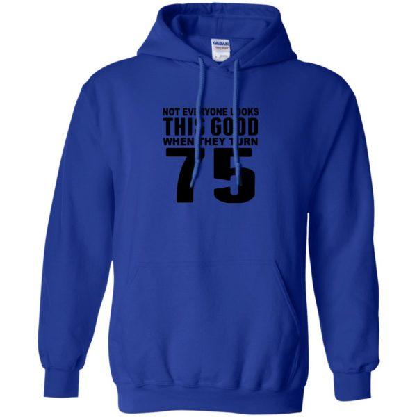 75th birthday hoodie - royal blue