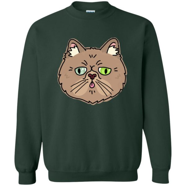 persian cat sweatshirt - forest green