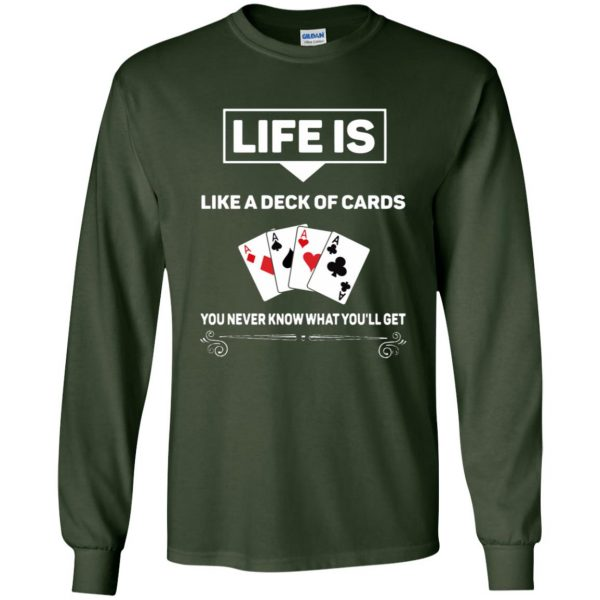 funny poker long sleeve - forest green