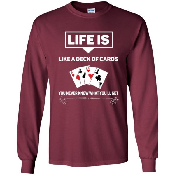 funny poker long sleeve - maroon