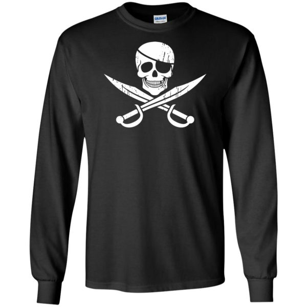 pirate flag long sleeve - black