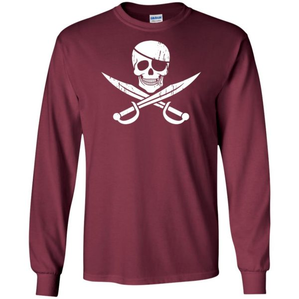 pirate flag long sleeve - maroon