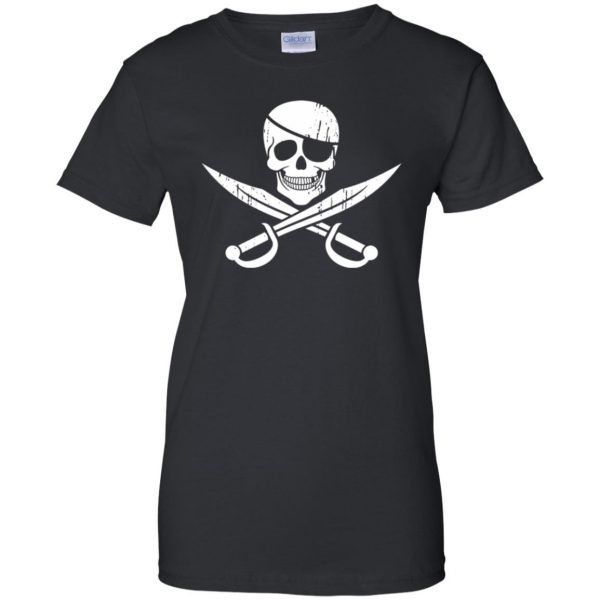 pirate flag womens t shirt - lady t shirt - black