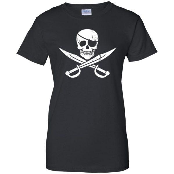 pirate flag womens t shirt - lady t shirt - black