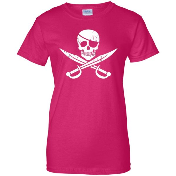 pirate flag womens t shirt - lady t shirt - pink heliconia