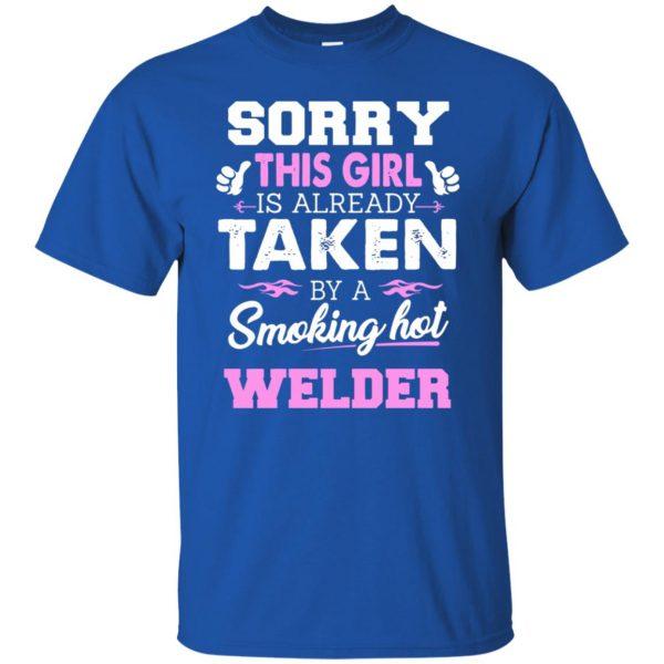 welder wife t shirt - royal blue