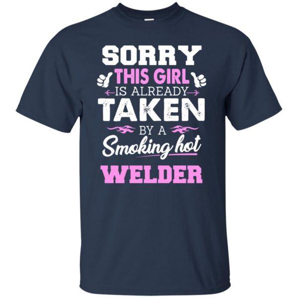 welder wife t shirt - navy blue
