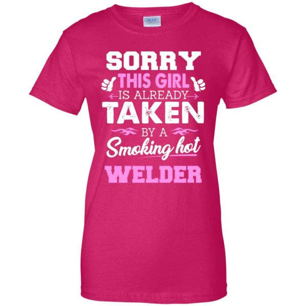welder wife womens t shirt - lady t shirt - pink heliconia