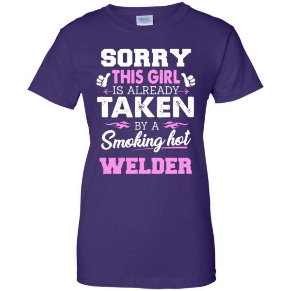 welder wife womens t shirt - lady t shirt - purple