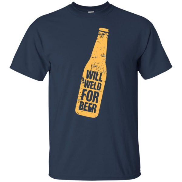 Will Weld For Beer t shirt - navy blue
