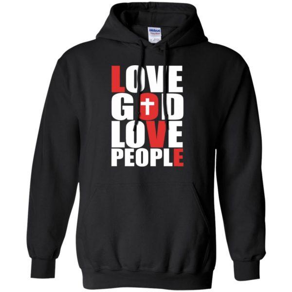 love god love people hoodie - black