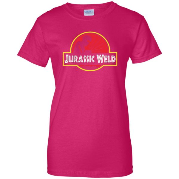 Jurassic Weld womens t shirt - lady t shirt - pink heliconia