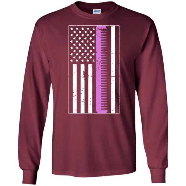 Retro Distressed Hair Stylist American Flag long sleeve - maroon