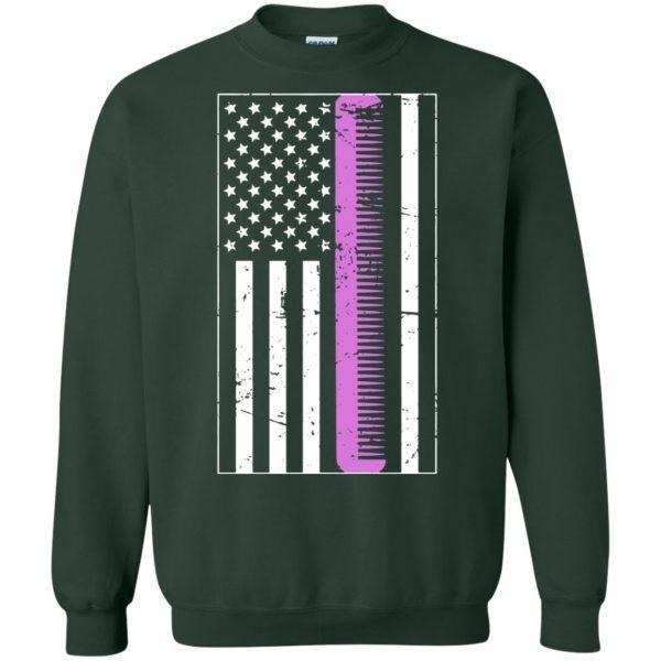 Retro Distressed Hair Stylist American Flag sweatshirt - forest green