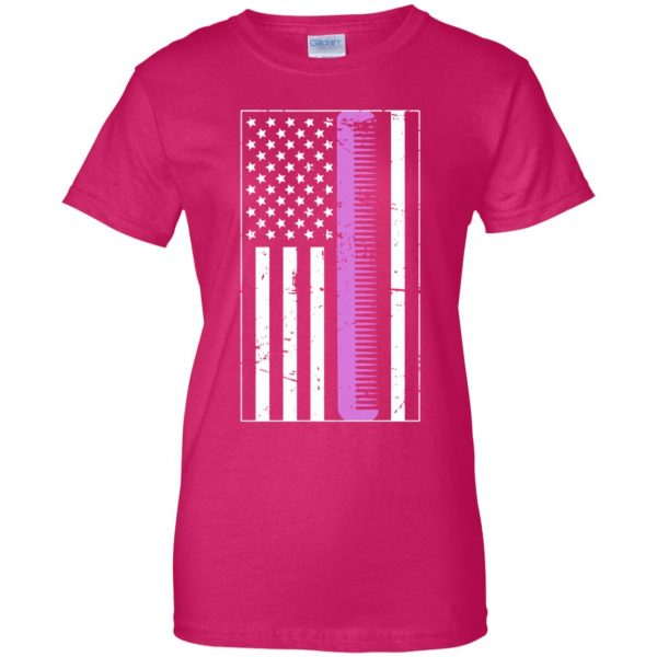 Retro Distressed Hair Stylist American Flag womens t shirt - lady t shirt - pink heliconia
