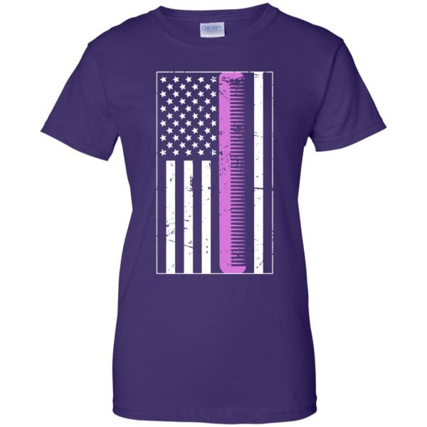 Retro Distressed Hair Stylist American Flag womens t shirt - lady t shirt - purple