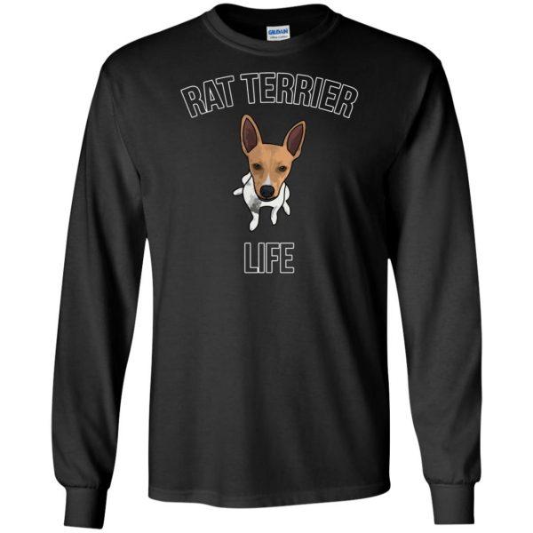 rat terrier long sleeve - black