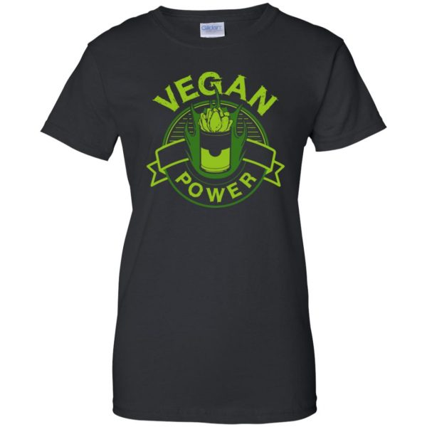 vegan power womens t shirt - lady t shirt - black