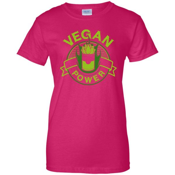 vegan power womens t shirt - lady t shirt - pink heliconia
