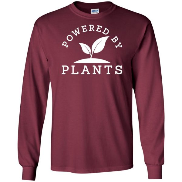 powered by plants tank top long sleeve - maroon