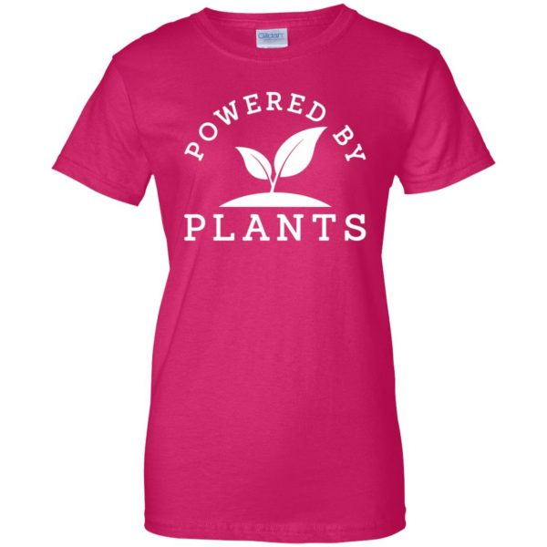 powered by plants tank top womens t shirt - lady t shirt - pink heliconia