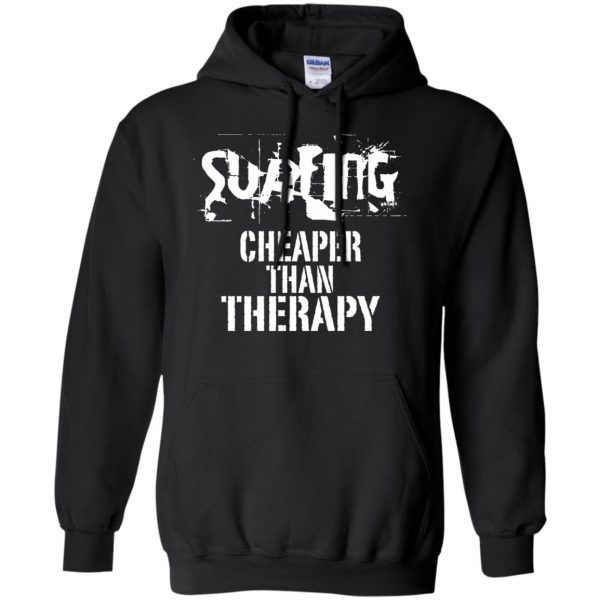 Surfing, Cheaper Than Therapy hoodie - black