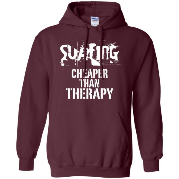 Surfing, Cheaper Than Therapy hoodie - maroon
