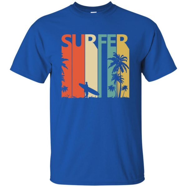 Vintage Retro Surfing Surfer t shirt - royal blue