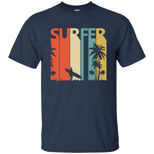 Vintage Retro Surfing Surfer t shirt - navy blue