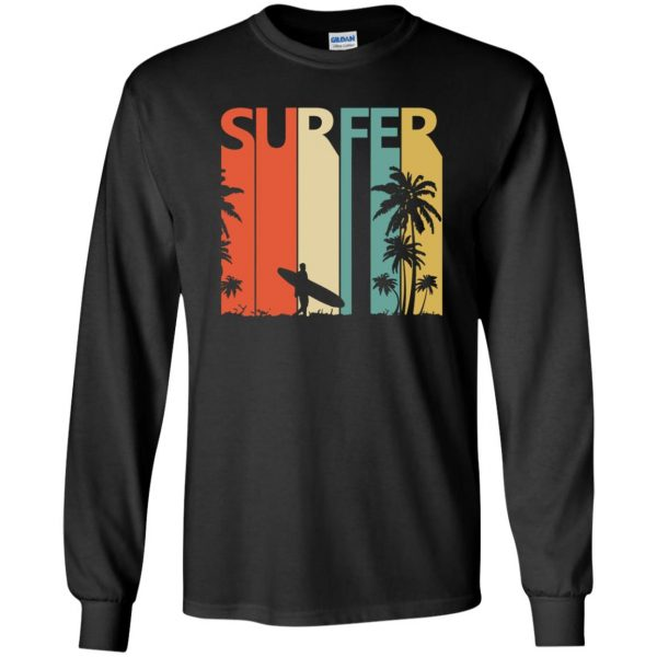 Vintage Retro Surfing Surfer long sleeve - black