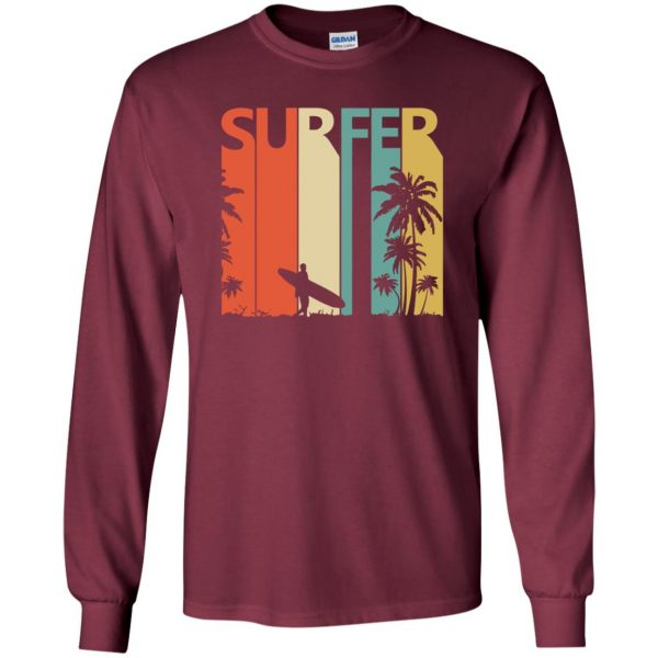 Vintage Retro Surfing Surfer long sleeve - maroon