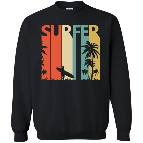Vintage Retro Surfing Surfer sweatshirt - black