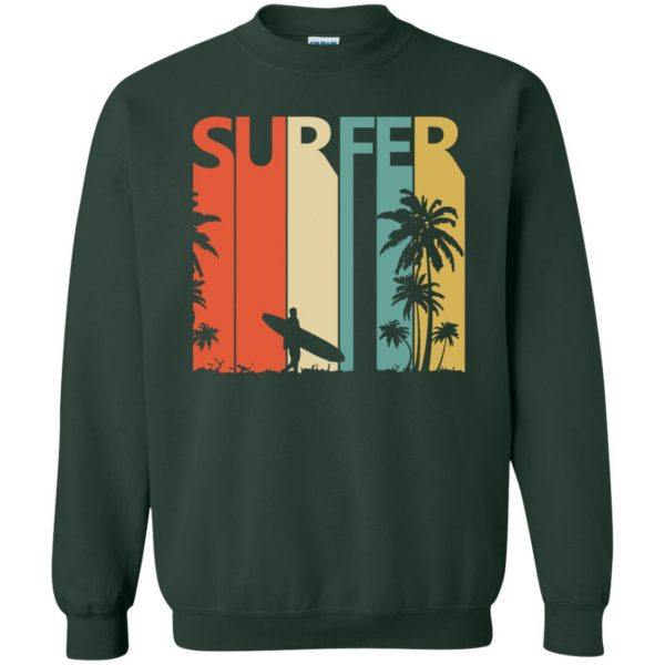 Vintage Retro Surfing Surfer sweatshirt - forest green