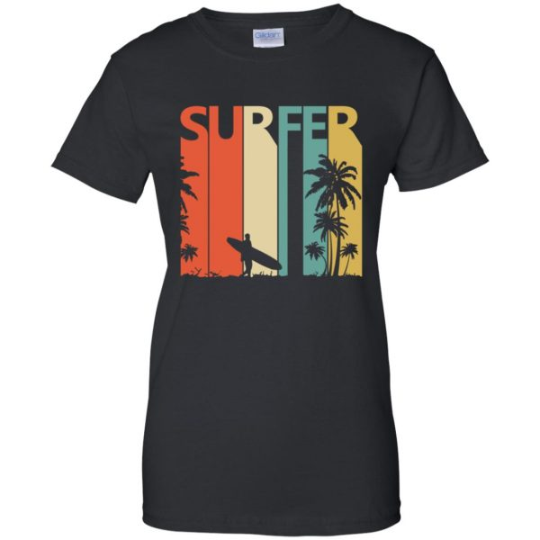 Vintage Retro Surfing Surfer womens t shirt - lady t shirt - black