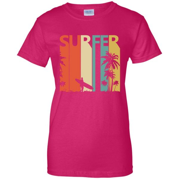 Vintage Retro Surfing Surfer womens t shirt - lady t shirt - pink heliconia