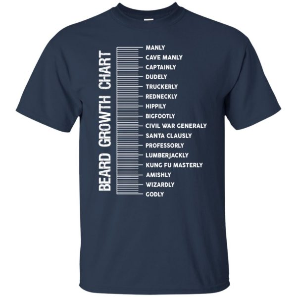 Beard length measuring chart t shirt - navy blue