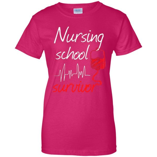 nursing school graduation womens t shirt - lady t shirt - pink heliconia