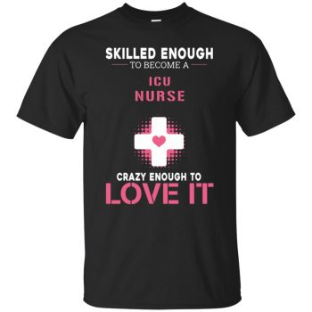 icu nurse t shirts - black