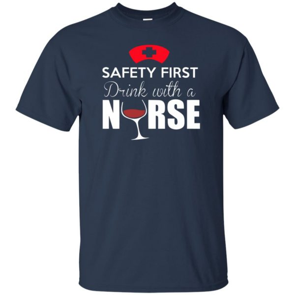 drink with a nurse t shirt - navy blue