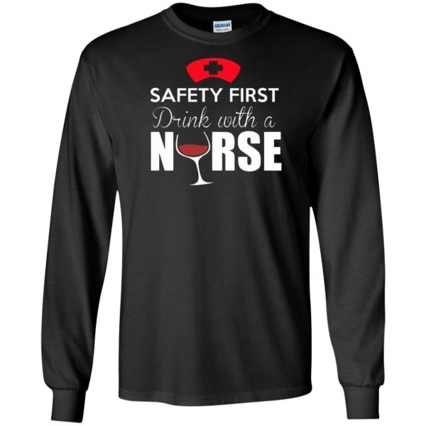 drink with a nurse long sleeve - black