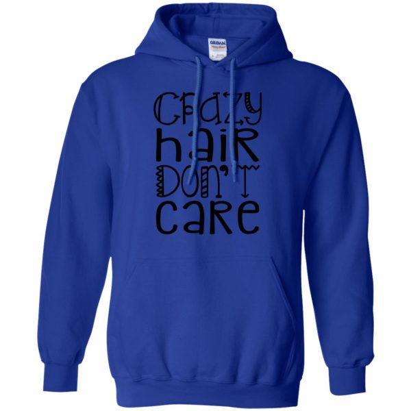 crazy hair dont care hoodie - royal blue