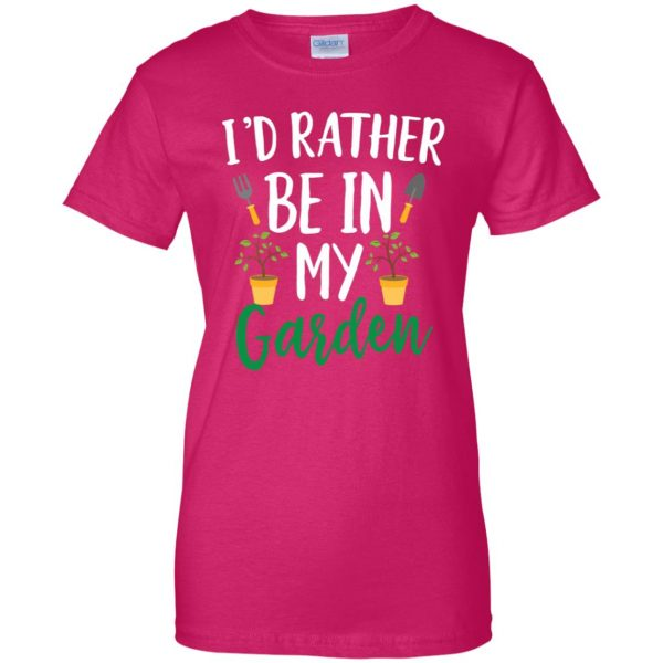 I'd Rather Be in My Garden womens t shirt - lady t shirt - pink heliconia