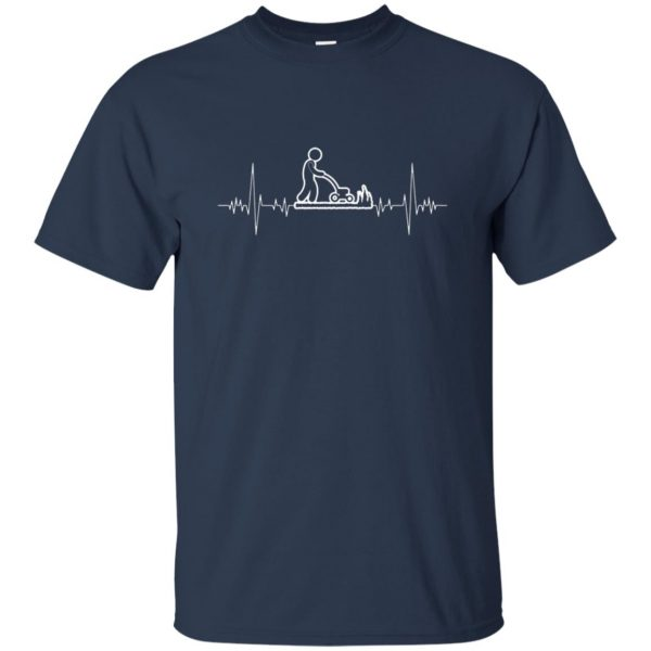 I Love Gardening Heartbeat t shirt - navy blue