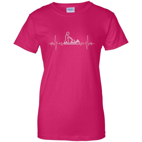 I Love Gardening Heartbeat womens t shirt - lady t shirt - pink heliconia