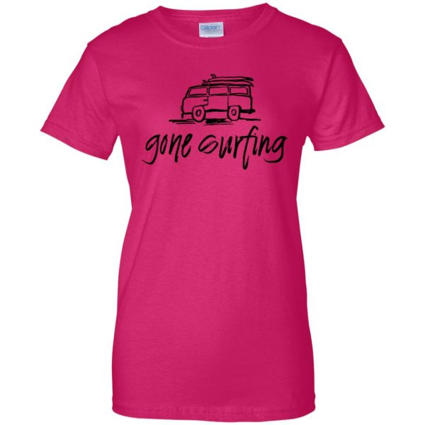 Gone Surfing womens t shirt - lady t shirt - pink heliconia